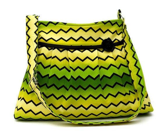Zig Zag Chevron Purse / Pleated Purse -  Yellow Green Fade / Medium Size Adjustable Strap