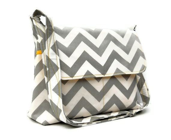 Gray Chevron Zig Zag Messenger Bag - Larger with 8 Pockets and Adjustable Strap