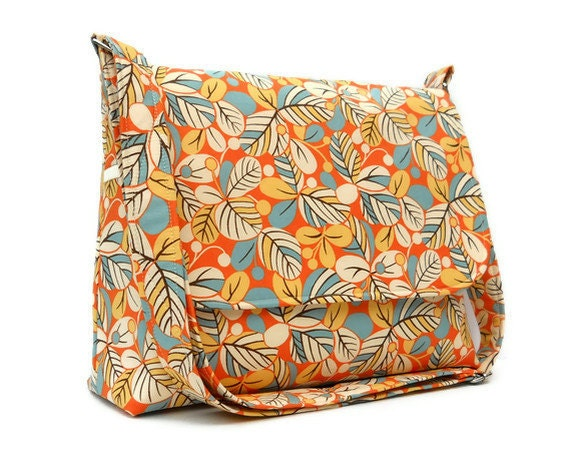 Womens Messsenger Bag / Handmade Fabric Purse / Handbag with Long Adjustable Strap / Fall Shoulder Bag - Leaves and Berries on Tangerine