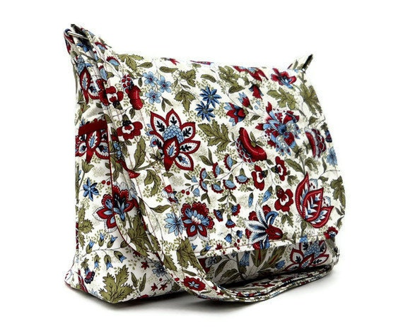Floral Cross Body Purse, Shoulder Bag with Adjustable Strap,  Womens Messenger Bag, Cotton Handbag, Jacobean Floral in Maroon Green Blue