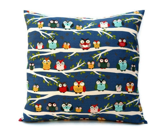 Set of Two Decorative Pillow Covers 18 x 18 - Owls on Branches, Owl Pillow Blue