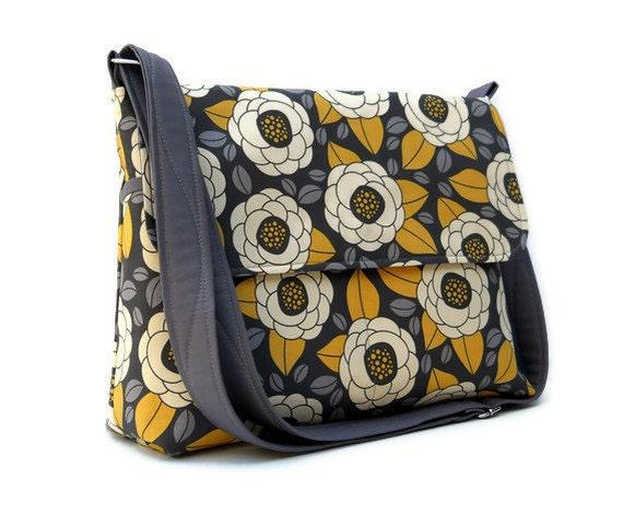 Messenger Bag Cross Body Bag - Joel Dewberry Aviary 2 Bloom in Granite - Larger with 8 Pockets