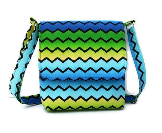 Small Messenger Bag Small Fabric Purse  - Blue Green Fade Chevron Zig Zag