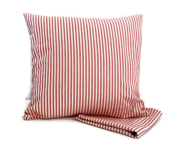Pillow Covers - 18 inch Pair - Red Ticking Cotton