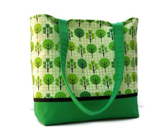 Medium Tote Bag Purse - Trees on Green - Ready to Ship