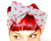 Vintage Inspired Head Scarf, Watermelon and Gingham, Rockabilly, Retro, Bow or bandanna Style
