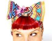 Vintage Inspired Head Scarf, Bow Style, South Western, Navajo, Boho