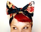 Vintage Inspired Head Scarf, Black and Orange Floral, Rockabilly, Retro, 1940s, 1950s