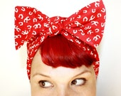 Vintage Inspired Head Scarf, Red Horse Shoes, Retro, Rockabilly, Pinup