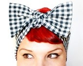 Vintage Inspired Head Scarf, Bow or Bandanna Style, Black and White Gingham, Rockabilly, Retro, Pinup, 1940s, 1950s