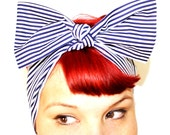 Bow style, Vintage Inspired Head Scarf, Navy Blue Strips, Nautical, Rockabilly, Retro, Vintage, 1940s, 1950s