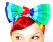 Vintage Inspired Head Scarf, Rainbow, Colorful, Bright, Retro