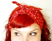 SALE!!! Vintage Inspired Head Scarf, Red with Stars, Retro, Rockabilly