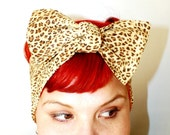 Vintage Inspired Head Scarf, Bow or Bandanna Style, Leopard Print, Light Brown, Retro, Rockabilly, 1940s, 1950s