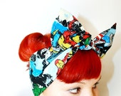 Vintage Inspired Head Scarf, Bow or Bandanna Style, Comic book, The Avengers, Thor, Iron Man, The Hulk,