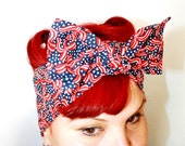 Vintage Inspired Head Scarf, Patriotic, Bows and Stars, Red White and Blue, Pin up, Rockabilly