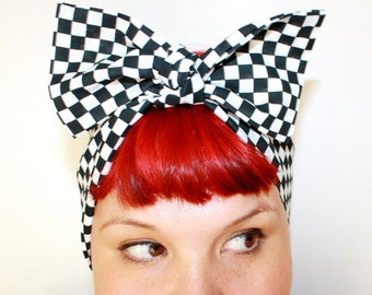 Vintage Inspired Head Scarf, Bow or Bandanna Style, Black and White Checks