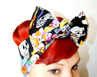 Vintage Inspired Head Scarf, Skulls, Day of the Dead, Rockabilly