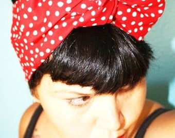 Vintage Inspired Head Scarf, Bow or Bandanna Style, Red Polka Dots