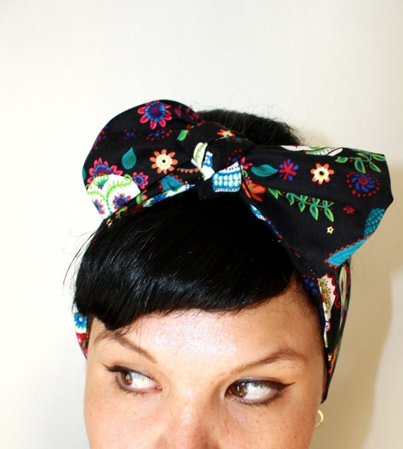Vintage Inspired Head Scarf, Sugar Skulls, Retro, Rockabilly