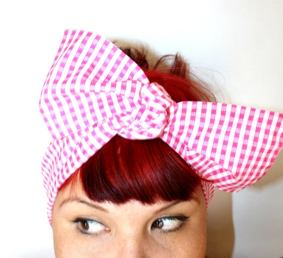 Vintage Inspired Head Scarf, Bow or Bandanna Style, Pink and white gingham, Rockabilly, Retro, Shabby chic