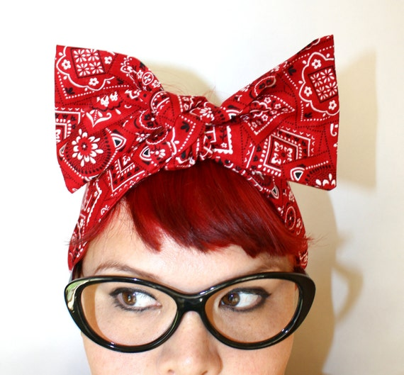 Vintage Inspired Head Scarf, Red Bandanna, Summertime, Rockabilly, Retro, 1940s, 1950s