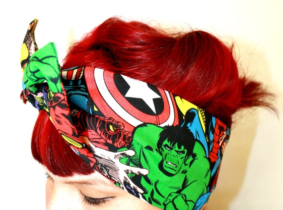 Vintage Inspired Head Scarf, Bow or Bandanna Style, Comic, The Avengers, The Hulk, Thor, Captain America, Iron Man, Spider Man,