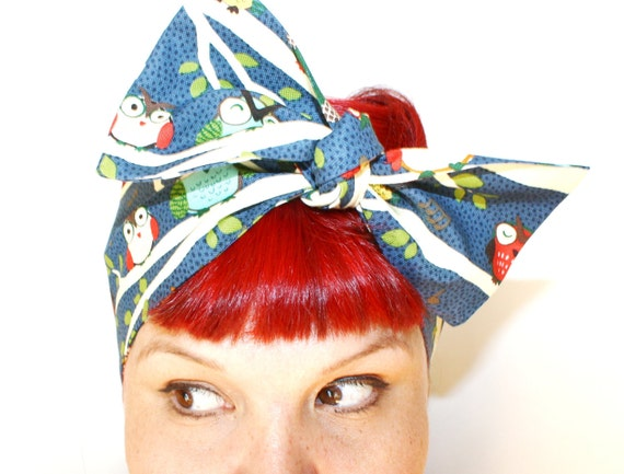 Vintage Inspired Head Scarf, Tree Owls, Bow or Bandanna Style