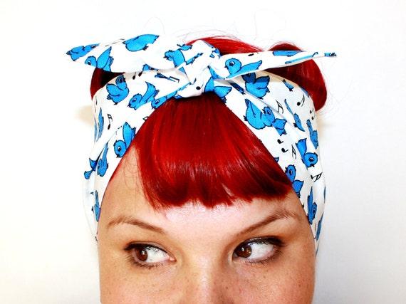 Vintage Inspired Head Scarf, Bandana Style, Blue Birds, Rockabilly, Retro