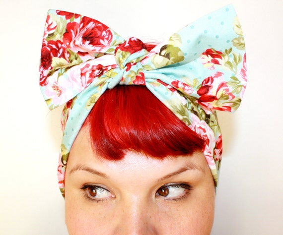 Vintage Inspired Head Scarf, Bow or Bandanna Style, Powder Blue Vintage Rose, Rockabilly, Retro, 1940s, 1950s