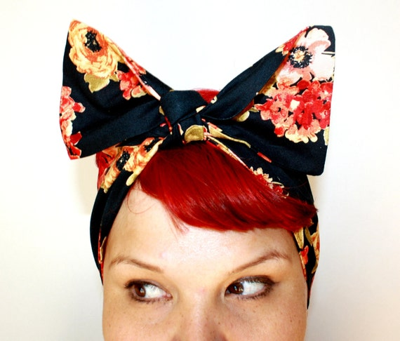 Vintage Inspired Head Scarf, Black and Orange Floral, Rockabilly, Retro, 1940s, 1950s