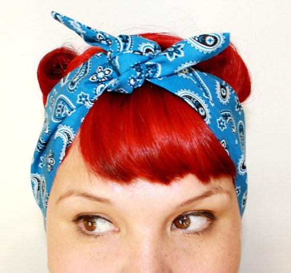 Vintage Inspired Head Scarf Blue Paisley 1950s, Rockabilly, Retro