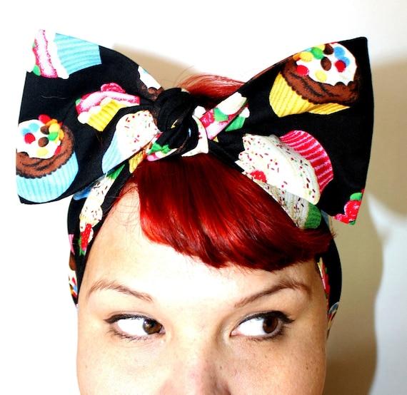 Vintage Inspired Head Scarf, Cupcakes, Strawberries, Cherries, Sprinkles, Rockabilly, Retro