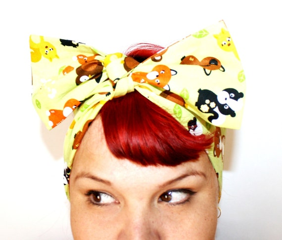 Vintage Inspired Head Scarf, Bears, Foxes, Skunks, Owls, Bunny, Lime green, Retro, Vintage