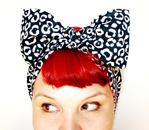 Vintage Inspired Head Scarf, Bow or Bandanna Style, Black and White Leopard print, Rockabilly, Retro