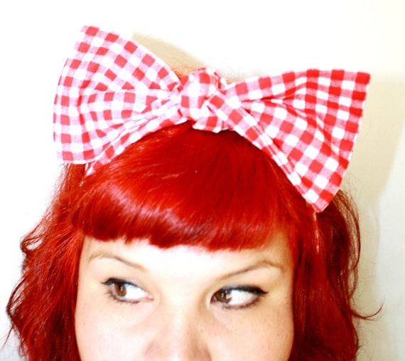 Vintage Inspired Head Scarf, Bow or Bandanna Style, Red Gingham, Retro, Rockabilly, 1940s,1950s