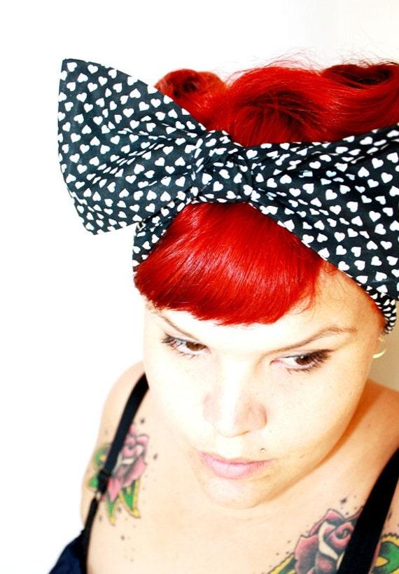 Vintage Inspired Head Scarf, Bow or Bandanna Style, Tiny Hearts, Retro, Rockabilly, 1950s