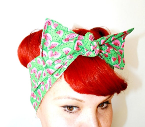 Vintage Inspired Head Scarf, Bow Or Bandanna Style, Watermelon, Summer time, Rockabilly, 1940s