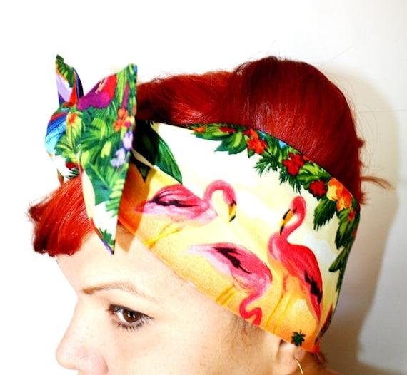 Bow style, Vintage Inspired Head Scarf, Pink Flamingos, Retro, Trailer Park, Rockabilly, Hawaiian, 1950s