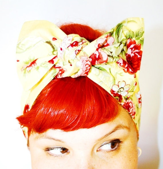 Vintage Inspired Head Scarf, Yellow, Roses and Ribbons, Retro, rockabilly, 1940s, 1950s