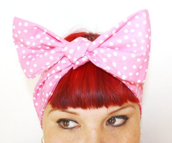 Vintage Inspired Head Scarf, Bow or Bandanna Style, Pink with Polka Dots, Retro, Rockabilly
