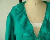 Vintage Silk Blouse, Emerald Green, Ruffled Feminine Top