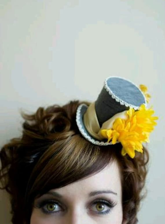 RESERVED FOR SONDRA Mini Top Hats : Grey and Yellow