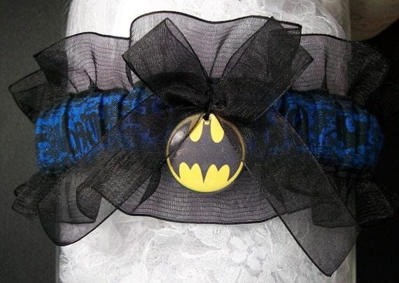 Batman inspired handcrafted garter with black organza