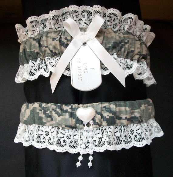 Air Force digital camo garter set with personalized dog tag