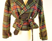 HOLD FOR DENISE Vintage 80s plaid tartan coat preppy chic jacket virgin wool Georgiou boxy