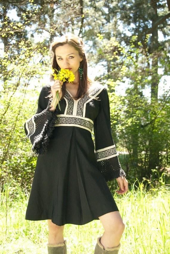 RARE Vintage 60s Fern Violette Dress black
