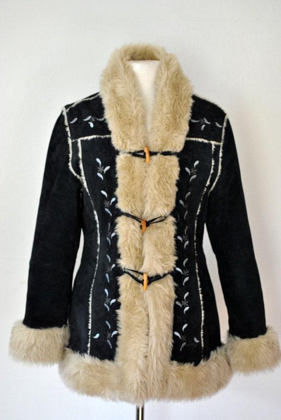 vintage 80s black suede boho coat   RESERVED