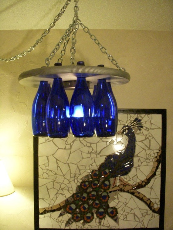 Blue bottle chandelier for How to make your own wine bottle chandelier