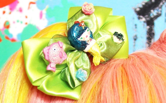 Little Mermaid Satin BIG Kawaii Hair Jewelry Bow Fascinator Floral Rose Lolita Kawaii Glitz Pageant Clip